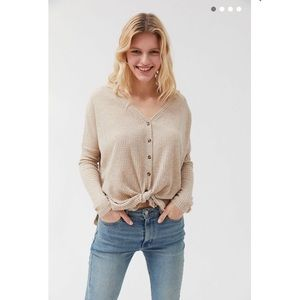 Waffle knit button down top